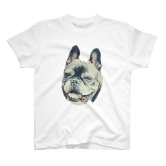 にっこり犬マメ(セピア) T-shirts