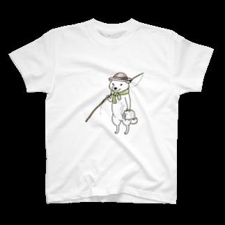 真希ナルセ(マキナル)の釣り柴(白柴) T-shirts