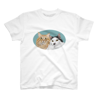 kinako-japanの猫社長さん 猫専務さん 青 T-shirts