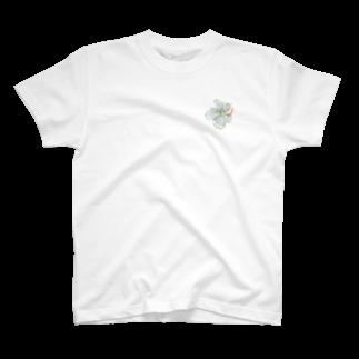 Wakameleonの白のハイビスカス T-shirts