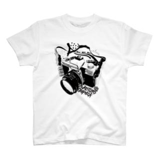 レスグラカメラ-BlACK- T-shirts