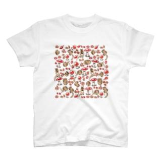 キノコとシマリス T-shirts