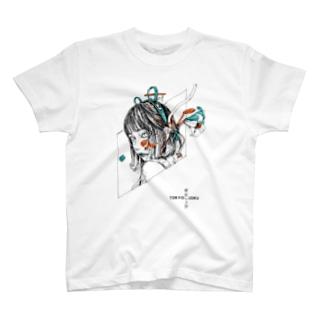 鼠と枯木とゆり white T-shirts