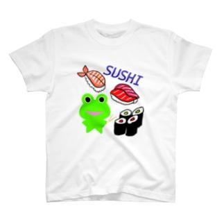 お寿司を楽しむカエルくん T-shirts