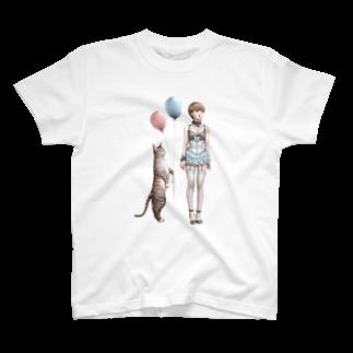 桂Keiのネコと少女 T-shirts
