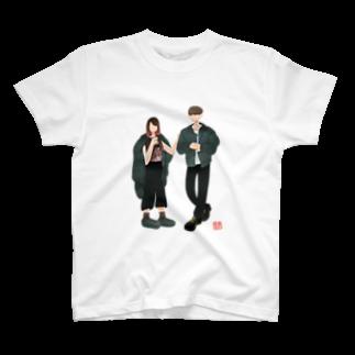 Hs0202Shonのtapioca girl & waiting boy T-shirts