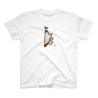 ヨゲンノトリとハープねこ T-shirts