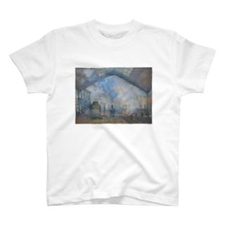 public domainのサン=ラザール駅 / クロード・モネ T-shirts
