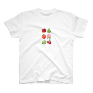 ドット絵フルーツ タテ T-shirts