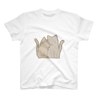 仲良し猫 キジトラ&灰 T-shirts
