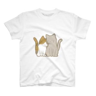 仲良し猫 縞三毛&灰 T-shirts