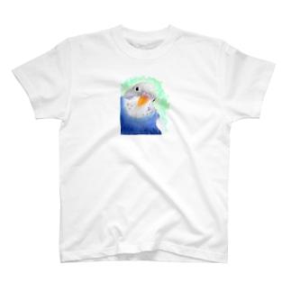 セキセイインコ オパーリン大【まめるりはことり】 T-shirts