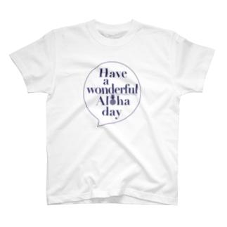 吹き出しロゴ Have a wonderful Aloha day142(NAVY) T-shirts
