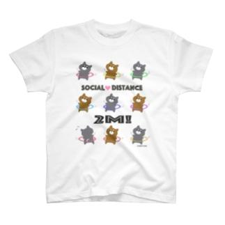 【前面】ソーシャルディスタンスを守るフラフープ柴ちゃん T-shirts