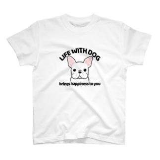 犬と共に(フレンチブル/白系) T-Shirt