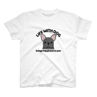 犬と共に(フレンチブル/黒系) T-Shirt