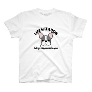 犬と共に(フレンチブル/ブチ) T-Shirt