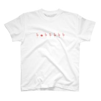 kyskのフラミンゴ&ハイビスカス T-shirts