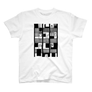 黒色の集合住宅 T-shirts