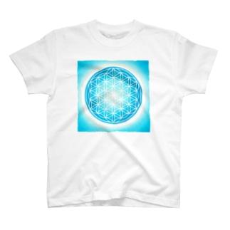 パステルフラワーオブライフ(青) T-shirts
