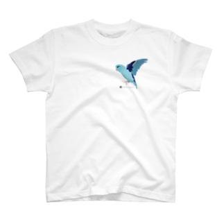 飛ぶマメルリハ(ブルー♂) T-shirts
