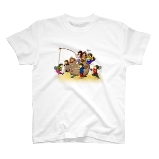 Let's play badminton with イノシシ T-shirts