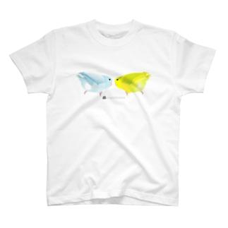 mametosoraのマメルリハインコのお尻(ホワイト・イエロー) T-shirts