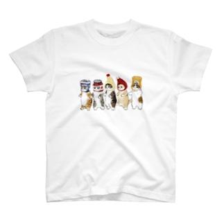 かぶりもの猫 T-shirts