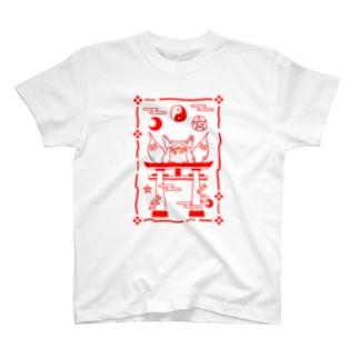 双子の妖狐*吹雪と焔 お札柄 T-shirts