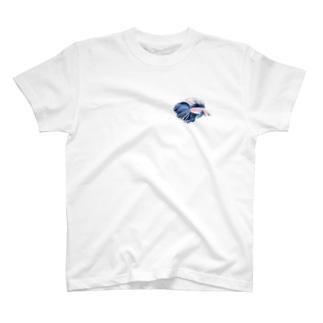 濃青のベタ T-shirts