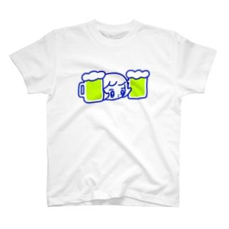 ビールと並ぶ T-shirts