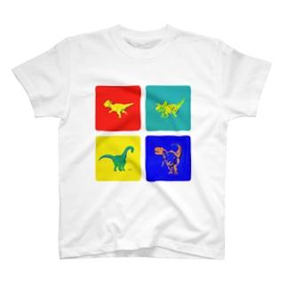 Windowsっぽい色の恐竜デザイン T-shirts