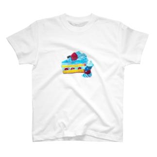ヨシサコツバサのケーキとうさぎさん T-shirts