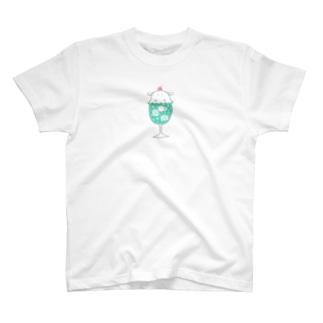 クリームソーダに擬態するメンダコ(メロンソーダ)控え目版 T-shirts