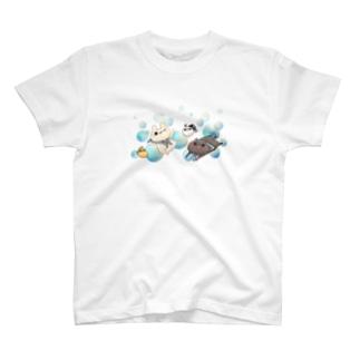 しろくろ水彩Tシャツ T-shirts