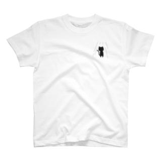 裏方ネコの照明さん(うすい色シャツ) T-shirts