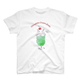 チンチラ雑貨MarkCrownのクリームソーダなチンチラ T-shirts
