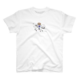空を駆けるイラスト(白馬)Tシャツ T-shirts