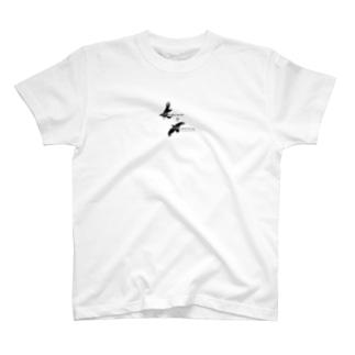 フギン&ムニン_黒文字 T-shirts