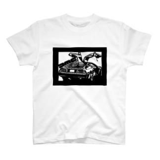 DMCデロリアン切り絵デザイン T-shirts