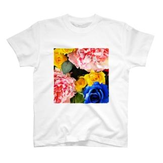 ビビッド造花Tシャツ T-shirts