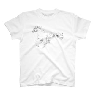 馬の絵の画家 斉藤いつみの馬の素描Tシャツ1 T-shirts