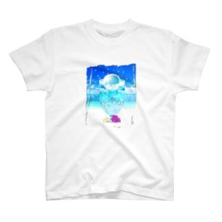 海と空色のcream soda🍹(背景あり) T-shirts