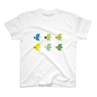 """トブトリ""""tobutori series"""" ラブバードデザイン T-shirts"""