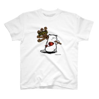 酉の市白猫 T-shirts