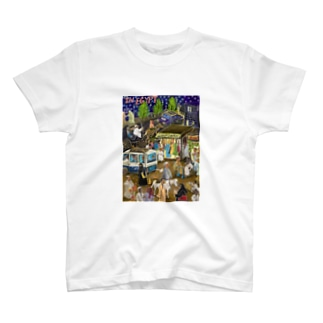 夜の街に集まるエジプシャンたち T-shirts
