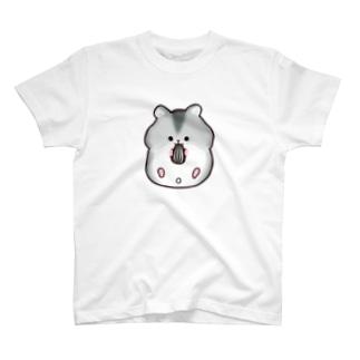 仰向けでも食べちゃうジャンガリアンハムスター(ブルーサファイア) T-shirts