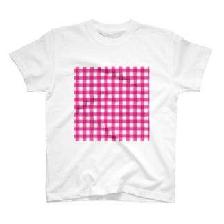 ギンガムチェックピンクのクリアマルチケース T-shirts