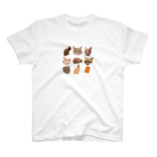 9マスのネコ T-shirts