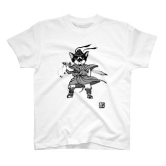 もけけ工房 SUZURI店の千坊鐘馗さま.モノクロ2 T-shirts